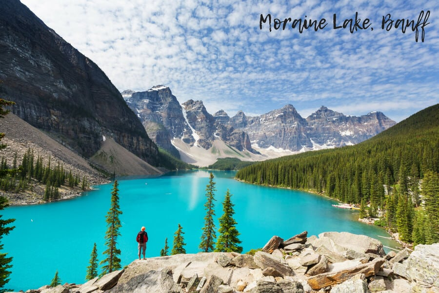 Moraine Lake, Banff, Canada, the perfect place for hiking in the spring