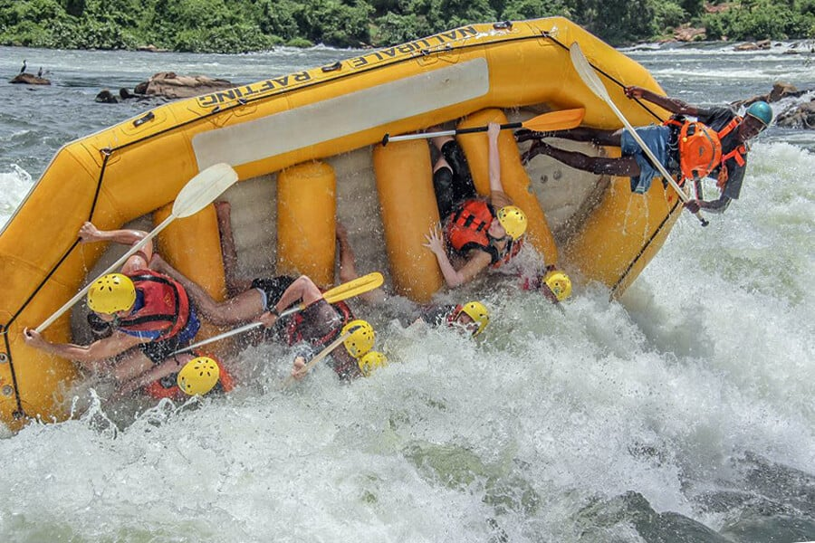 White-water rafting in the Nile River, Uganda