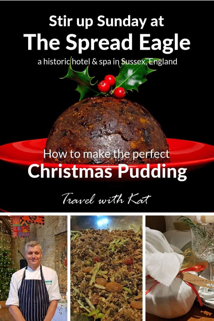 Learning how to make the perfect Christmas pudding at the Spread Eagle, Midhurst, Sussex, England