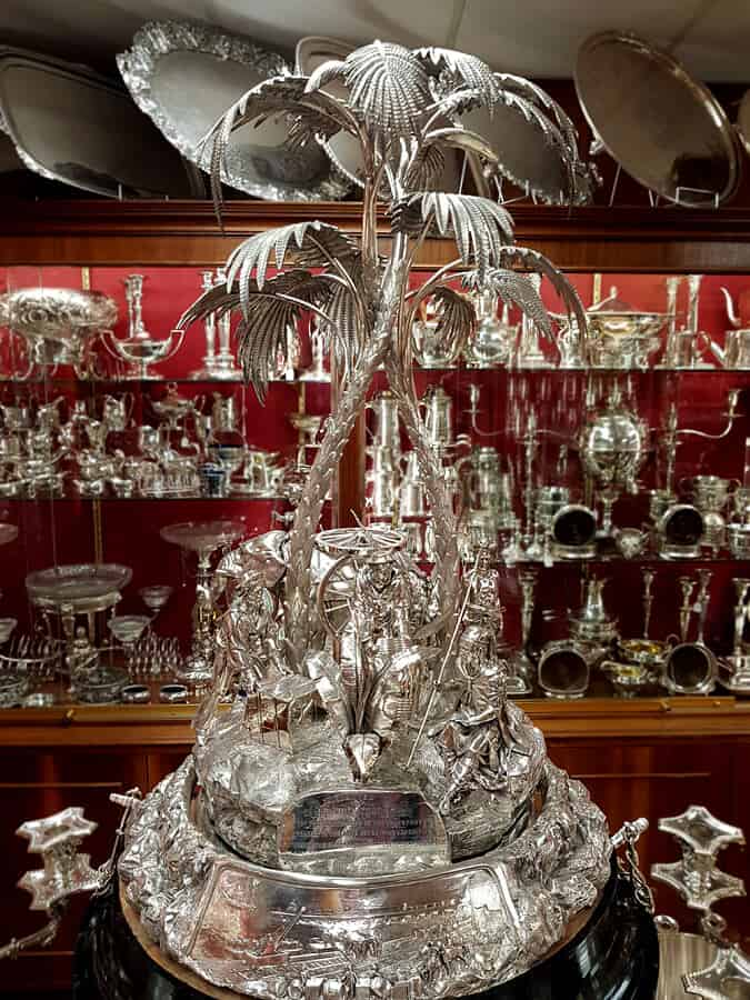 Victorian silver centrepiece. Decorated with scenes commemorating the British Expedition to Abyssinia, it was presented to Sir George Tryon.