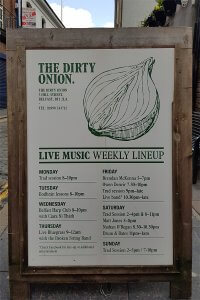 Live music lineup at The Dirty Onion