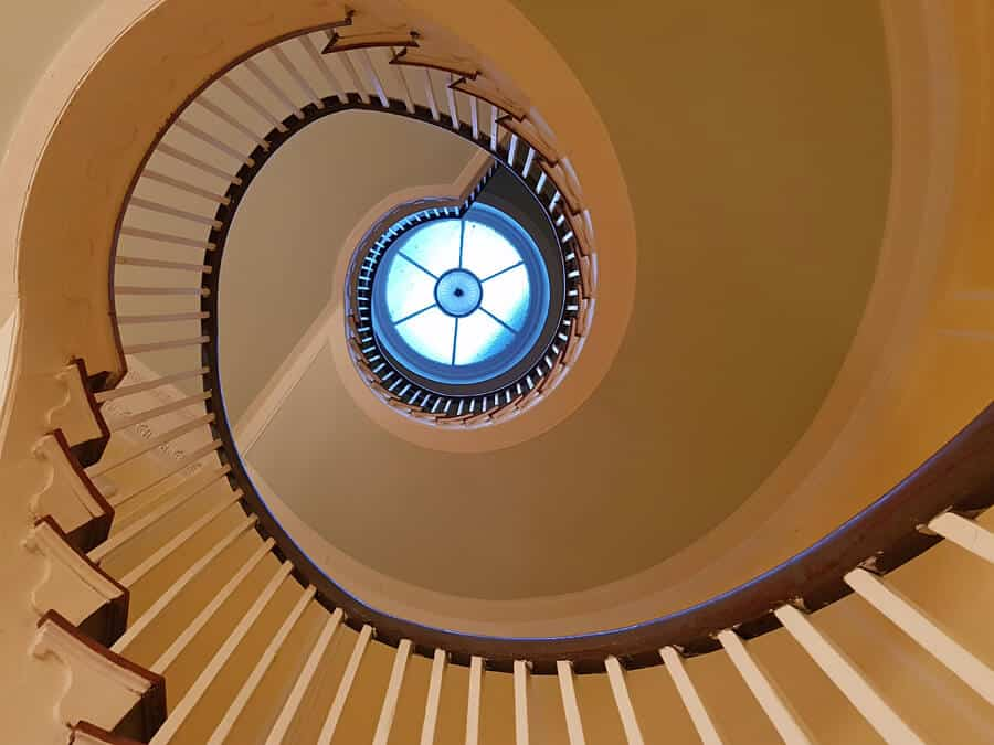 Stunning spiral staircase at the Lowndes Grove Plantation, Charleston