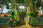 The pretty vine covered pergola entrance looks lush and green at Circa 1886, one of the best restaurant s in Charleston, SC