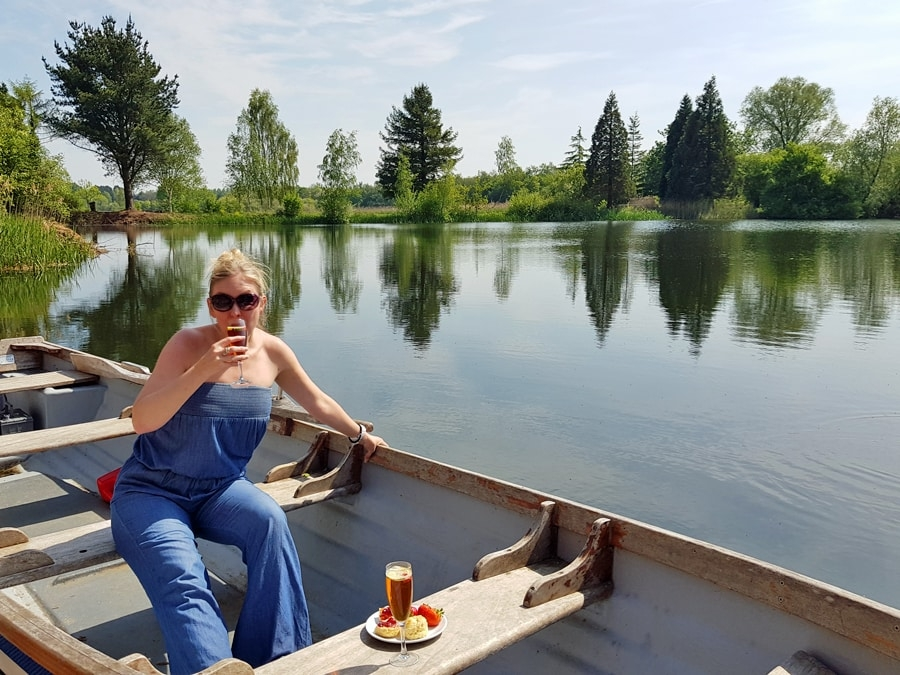 Claire, from Weekend Candy, enjoys Pimms and scones on the lake