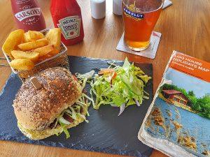Burger and chips at The Tavern Inn, Kemble