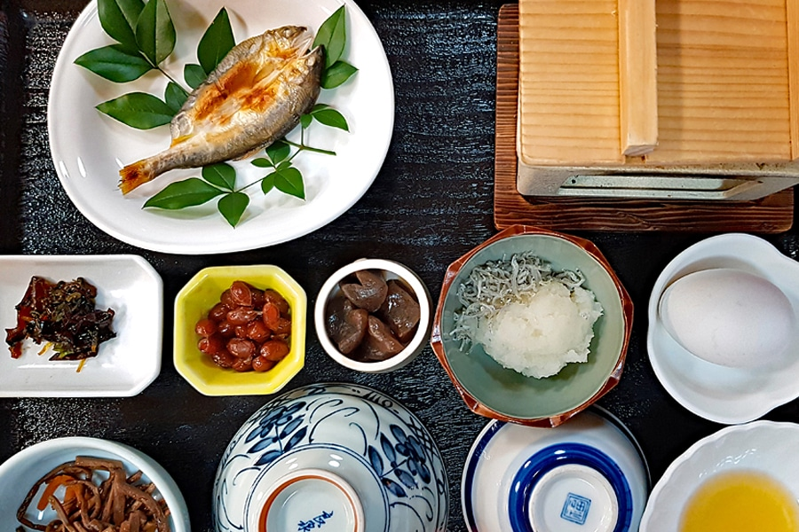 The small dishes that comprise a traditional Japanese breakfast