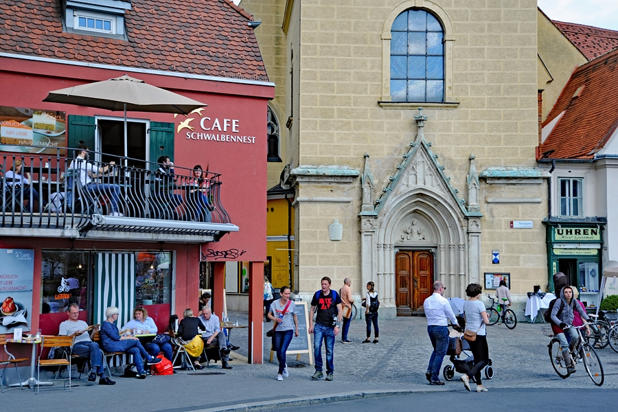 Cafes and resaturants around the Franciscan Church. Graz, Austria
