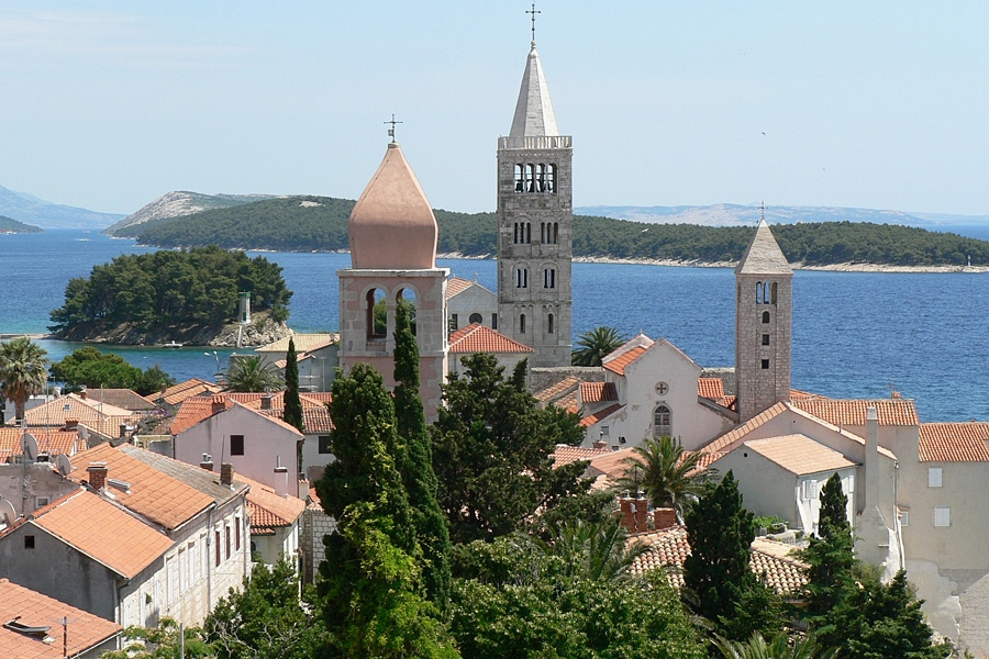 The church spiers of the city of rab, Croatia