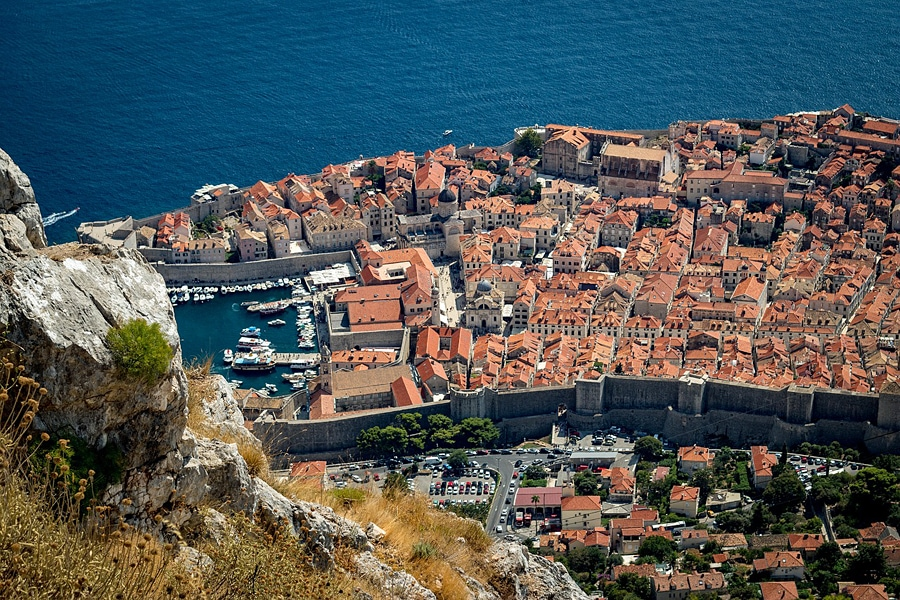 Birdseye view of Dubrovnik, Croatia