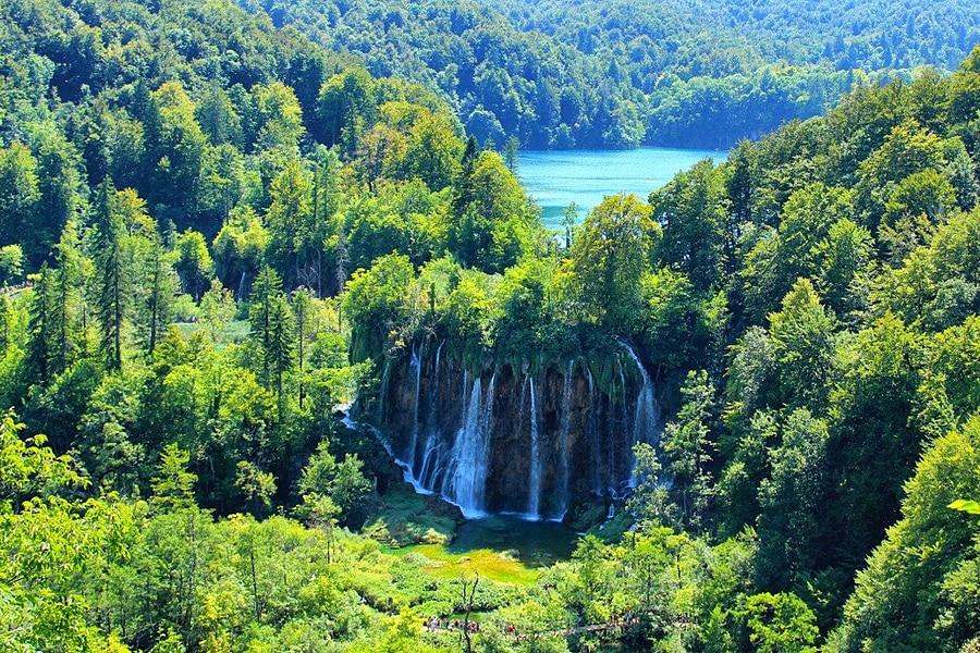 Stunning waterfall and lake surrounded by dense, lush green forest in Croatia