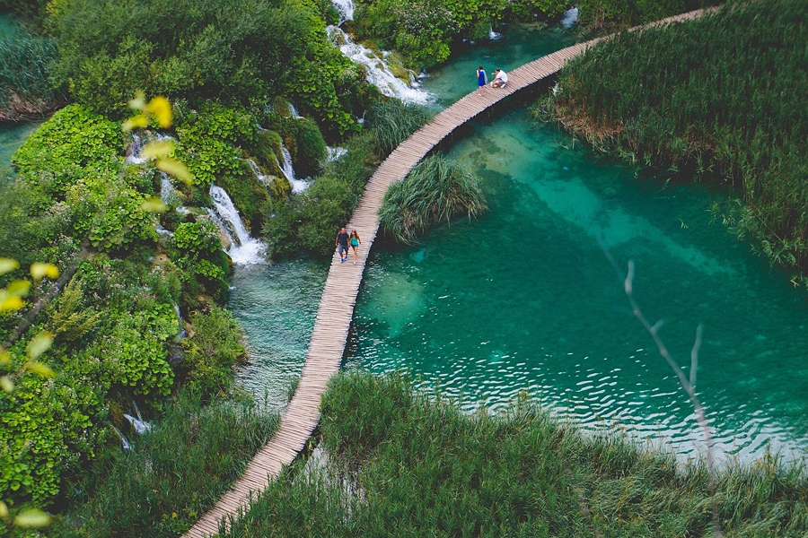 Overhead view of the one of the winding walkways through Plitvice National Park