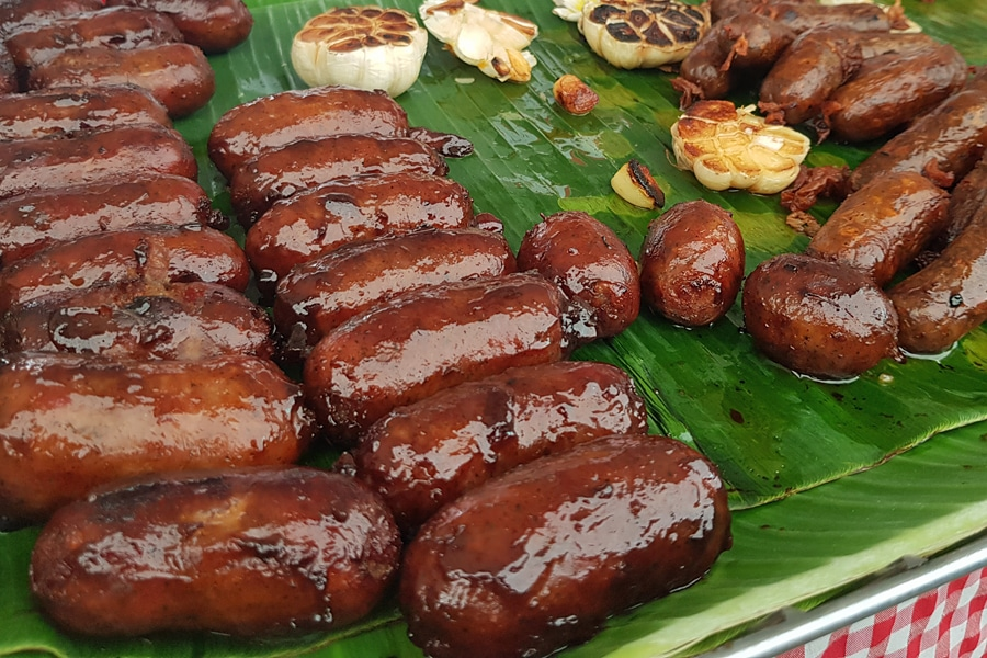 Fodod in Manila - Filipino longganisa sausages at Legazpi Market, Manila, Philippines