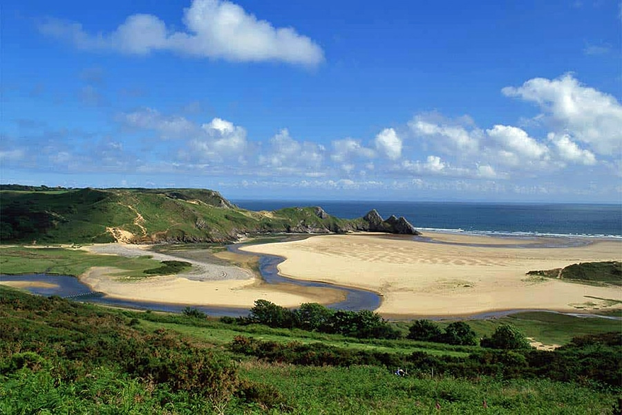 Thee Cliffs Bay in Wales, one of the most beautiful places in the UK